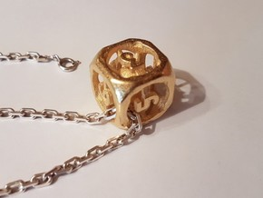 Dice/Dé à jouer in Polished Gold Steel