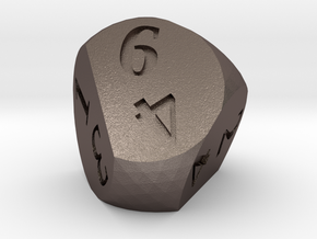 Weird D6 Rounded Dipyramid in Polished Bronzed Silver Steel