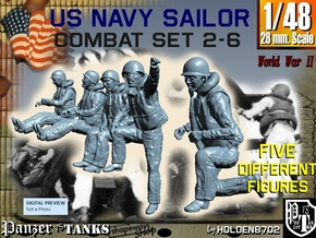 1-48 US Navy Sailors Combat SET 2-6 in Frosted Ultra Detail