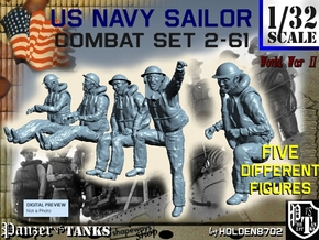 1-32 US Navy Sailors Combat SET 2-61 in Smooth Fine Detail Plastic