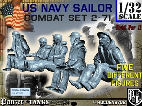 1/32 US Navy Sailors Combat SET 2-71 in Smooth Fine Detail Plastic