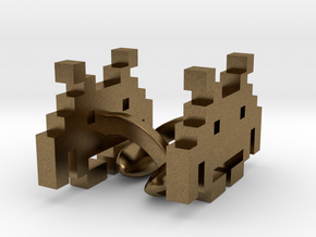 8-bit Space Invaders Links in Natural Bronze
