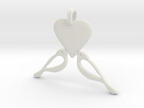 LOVE Birds Symbol Customizable Initial Monogram  in White Natural Versatile Plastic