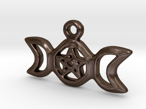 Triple Moon Pentacle Pendant in Polished Bronze Steel