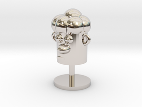 Cartoonish Human Head W/ Stand in Rhodium Plated Brass