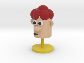Cartoonish Human Head W/ Stand in Full Color Sandstone