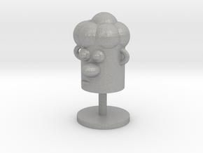 Cartoonish Human Head W/ Stand in Aluminum