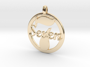 LUCKY Seven Symbol Jewelry Pendant CHARM GIFT in 14k Gold Plated Brass