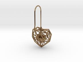 Metal Wireframe Heart Earring in Interlocking Raw Brass