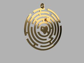 PENDANT LOVE MAZE in Polished Brass (Interlocking Parts)
