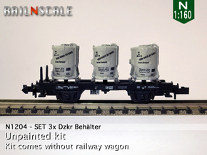 SET 3x Dzkr 501 Behälter (FLM/MTX) (N 1:160) in Smooth Fine Detail Plastic