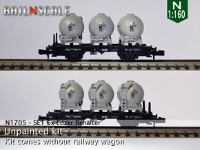 SET 6x Edzkr 571 Behälter (FLM/MTX) (N 1:160) in Smooth Fine Detail Plastic