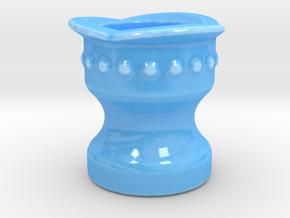 Shaving Brush Handle: Collar in Gloss Blue Porcelain