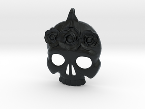 BlakOpal Skull with Rose Crown Charm in Black Hi-Def Acrylate