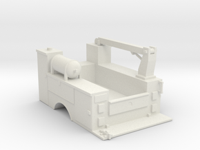 MOW Truck Bed With Fixed Crane 1-87 HO Scale  in White Natural Versatile Plastic