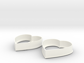 Heart cookie cutters in White Processed Versatile Plastic