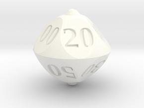 Round Roller Dice in White Processed Versatile Plastic: d00