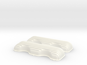1/12 409 Finned Valve Covers File in White Processed Versatile Plastic