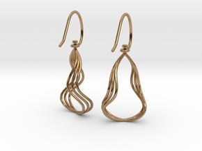 Gentle Flow - Precious Metal Earrings in Polished Brass (Interlocking Parts)