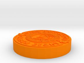 Coin Pendant in Orange Processed Versatile Plastic