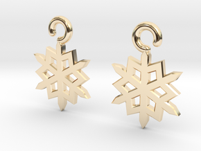 Snowflake Earrings in 14K Yellow Gold