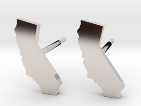 California State Earrings, post style in Platinum