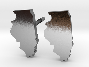 Illinois State Earrings, post style in Polished Silver