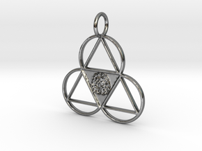 The Meta-Mind Pendant in Fine Detail Polished Silver
