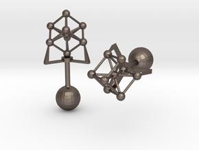 Atomium Cufflinks in Polished Bronzed Silver Steel