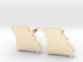 Missouri State Earrings, post style in 14K Yellow Gold