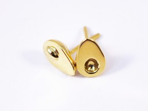 Avocado earrings for the food lover in Polished Brass