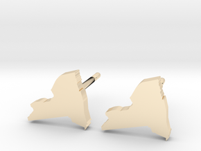 New York State Earrings, post style in 14K Yellow Gold