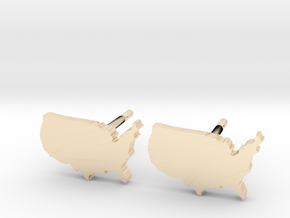 United States Earrings, post style in 14k Gold Plated Brass
