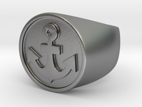 Anchor Band L. -  Signet Ring in Natural Silver: 7.5 / 55.5