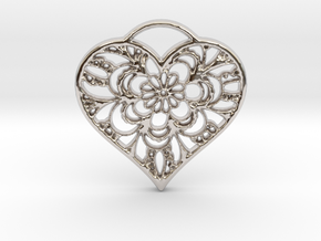 Heart Lace in Rhodium Plated Brass