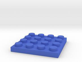 Toy Brick flat 4x4 in Blue Processed Versatile Plastic