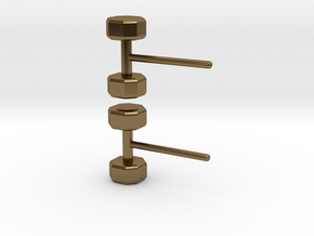 Dumbbells Earrings for the Fitness Fanatic in Polished Bronze