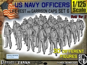 1-125 USN Officers KAPOK Set6 in Smooth Fine Detail Plastic