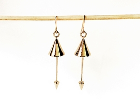 Pendulum Earrings - 3D printed Interlocking Metals in Interlocking Polished Bronze