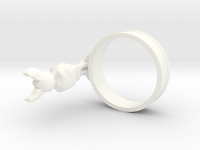 Hanging Bat Charm Ring in White Processed Versatile Plastic: 5 / 49