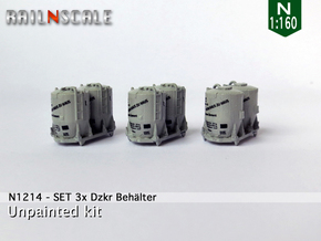 SET 3x Dzkr 501 Behälter (Roco) (N 1:160) in Smooth Fine Detail Plastic