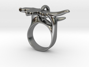 Maple Leaf Charm Ring in Polished Silver (Interlocking Parts): 5 / 49