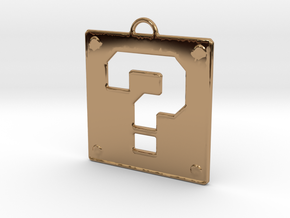 Mario Question Block Pendant in Polished Brass