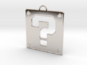 Mario Question Block Pendant in Platinum