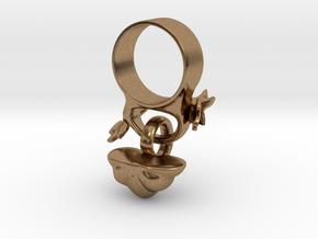 Fairytale Pumpkin Charm Ring in Natural Brass (Interlocking Parts): 5 / 49