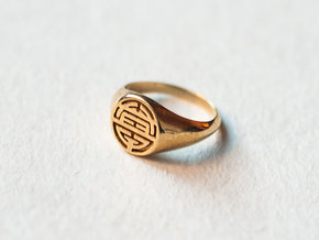 Longevity-Lady Signet Ring in Polished Brass: 4 / 46.5