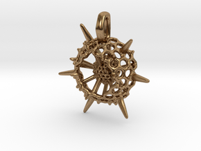 Small Spumellaria Pendant - Science Jewelry in Natural Brass