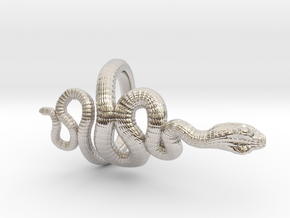 Snake Roll Stopper M 14 mm in Rhodium Plated Brass