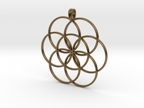 SEED OF LIFE Sacred Geometry Symbol Necklace in Natural Bronze