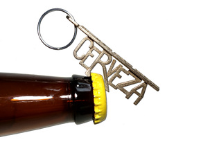 Cerveza Keychain Bottle Opener in Polished Bronzed Silver Steel